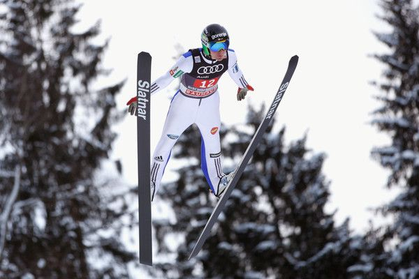 Domen Prevc of Slovenia competes at the trail round on Day 2 of the 65th Four Hills Tournament ski jumping event at Paul-Ausserleitner-Schanze on January 6, 2017 in Bischofshofen, Austria.