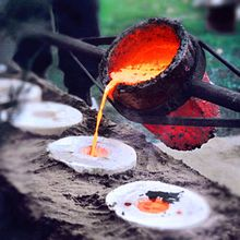 """Lost-wax casting. Lost-wax casting (also called """"investment casting"""", """"precision casting"""", or cire perdue in French) is the process by which a duplicate metal sculpture (often silver, gold, brass or bronze) is cast from an original sculpture."""