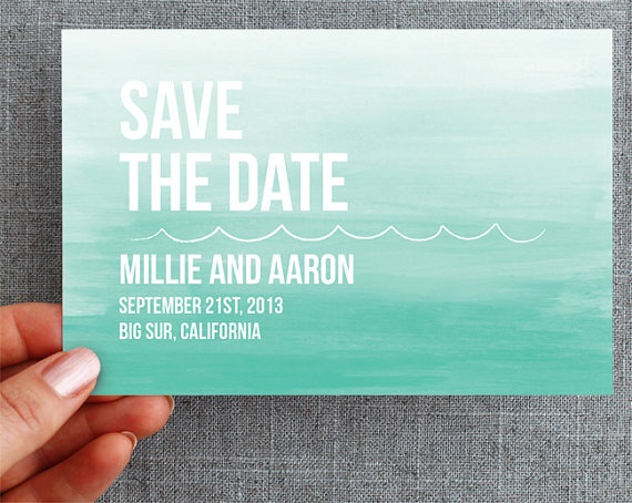 50 Custom Postcards  Save the Date  Ombre Ocean by minelolly