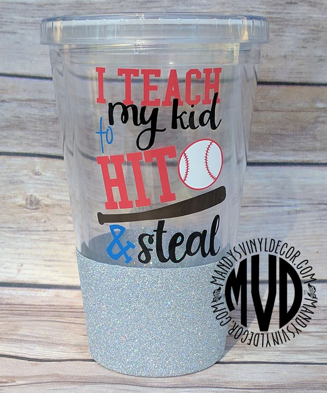 Funny baseball or softball parent glitter vinyl tumbler made by Mandy's Vinyl Decor.