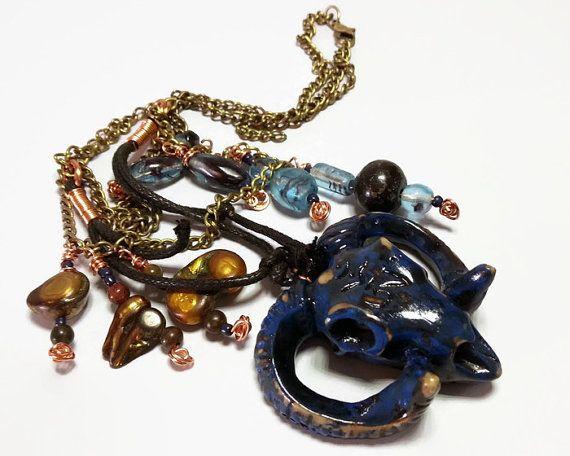 Goat necklace goat head ram's head pendant spirit by AlphaBlocks