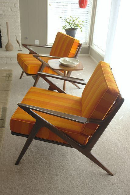 """Selig Z chairs. """"The design of the Selig Z chair is often attributed to three Danish furniture designers, Finn Juhl, Poul Jensen and Ib Kofod Larsen."""""""
