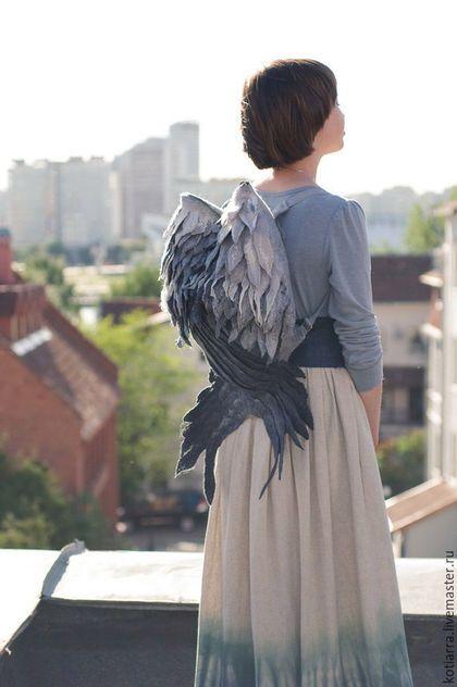 Amazing felted bag wings / Рюкзаки ручной работы. Ярмарка Мастеров - ручная работа. Купить Рюкзак-крылья Серые. Handmade. Серый, перья, серая птица