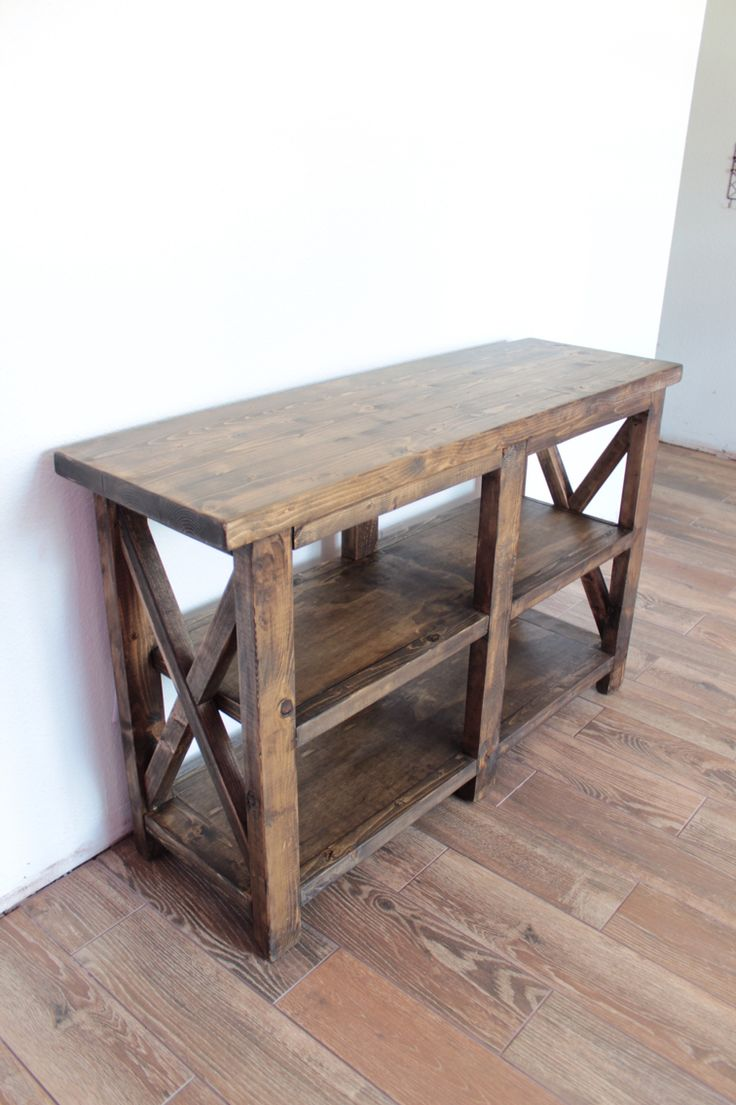 Rustic Entryway Table made from just 5 boards of 2x6s and 3/4 inch sanded pine plywood. I stained it with Varathane ash stain and Varathane polyurethane. Dimensions: 4ft long X 15in wide X 30in high.          https://www.facebook.com/Deezknotswoodworking/