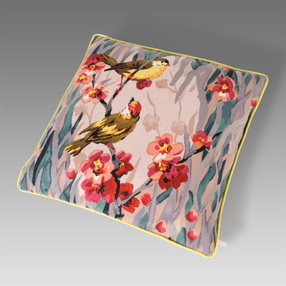 Birdie Blossom cushion designed by Paul Smith and made by The Rug Company.