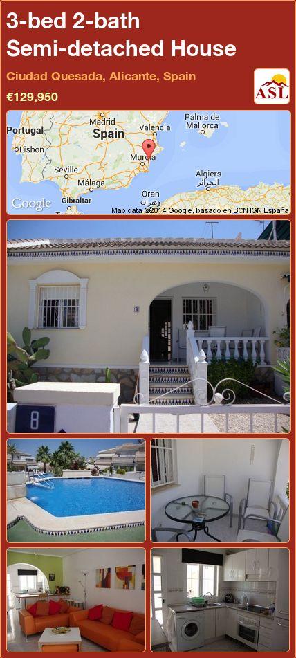 3-bed 2-bath Semi-detached House in Ciudad Quesada, Alicante, Spain ►€129,950 #PropertyForSaleInSpain