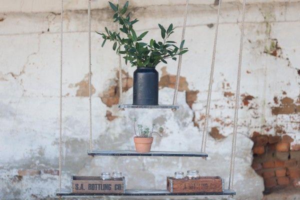 3 Tier Hanging Shelves, www.at-life.co.za #theatLIFEbrand  #decor #interiordecorating #ecofurniture #greenfurniture #recycled furniture #rusticdecor #rusticinteriors