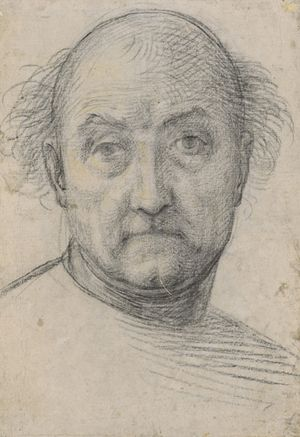 """Self-portrait drawing by Fra Bartolomeo, 1512. From """"100 Self-Portrait Drawings from 1484 to Today"""""""