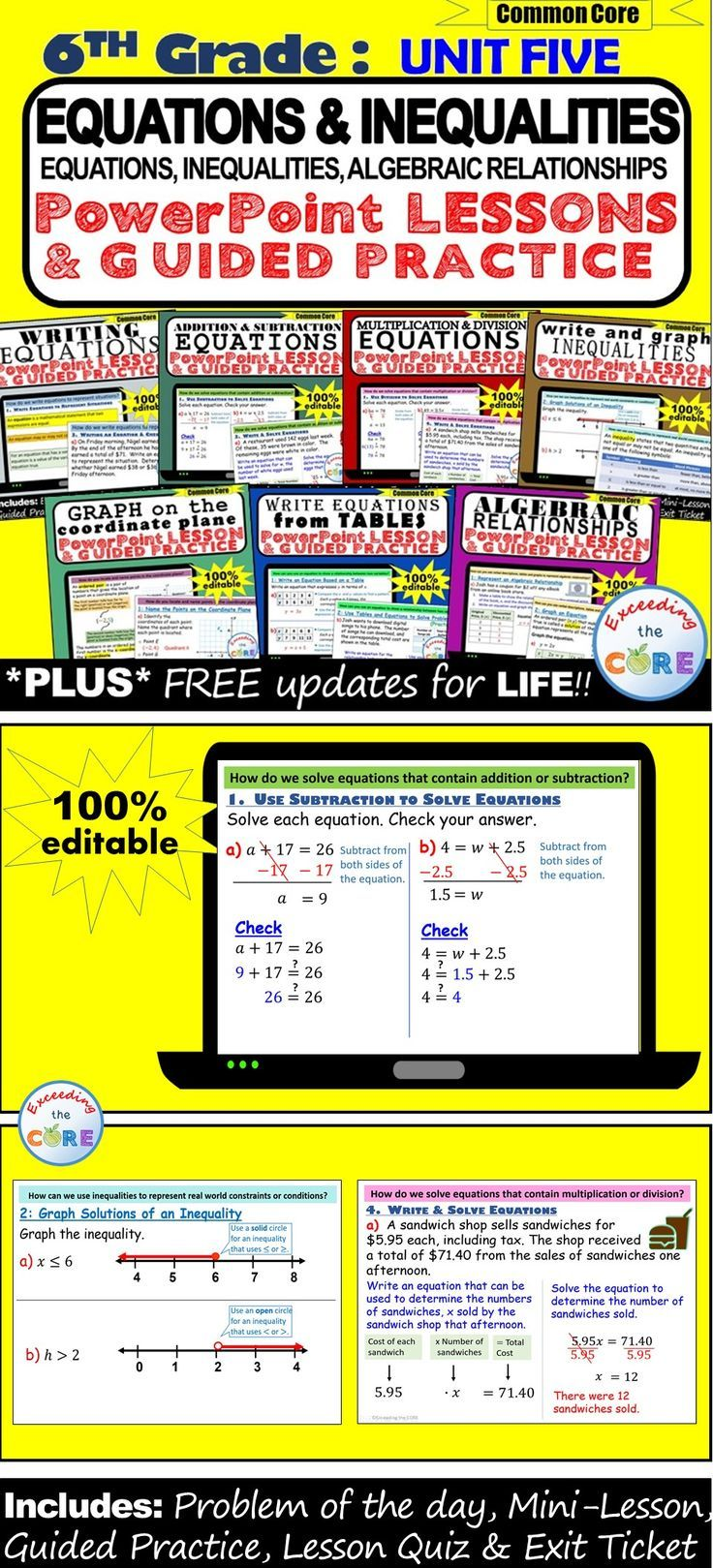Equations inequalities 6th grade powerpoint lessons