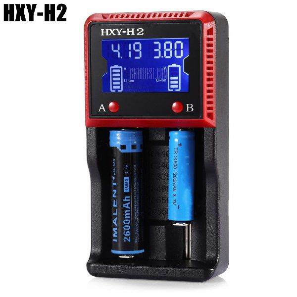 HXY-H2 0.5A/1A Li-ion Ni-MH Smart LCD Battery Charger  Product name: HXY - H2 USB LCD Battery Charger Model: HXY - H2 Input Voltage: AC 100 - 240V(max 350mA) / DC 12 - 24V(max 1000mAh) Output Voltage: 4.2V / 3.7V / 1.5V 500mA / 1000mA Charging Cell Type: LiFePO4Lithium IonNi-MHNiCd Compatible: 10440145001634017335175001765017670183501849018500186502265026650AAAAAC Weight: 178g Size: 145mm x 75mm x 40mm Features: 1. Capable of charging two batteries simultaneously ( Li-ion Ni-MH NiCd LiFePO4…