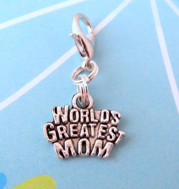 World's Greatest Mom Clip On Charm or Zipper Pull (Choose Your Style), Antiqued Silver - Purse Charm, Planner Charm