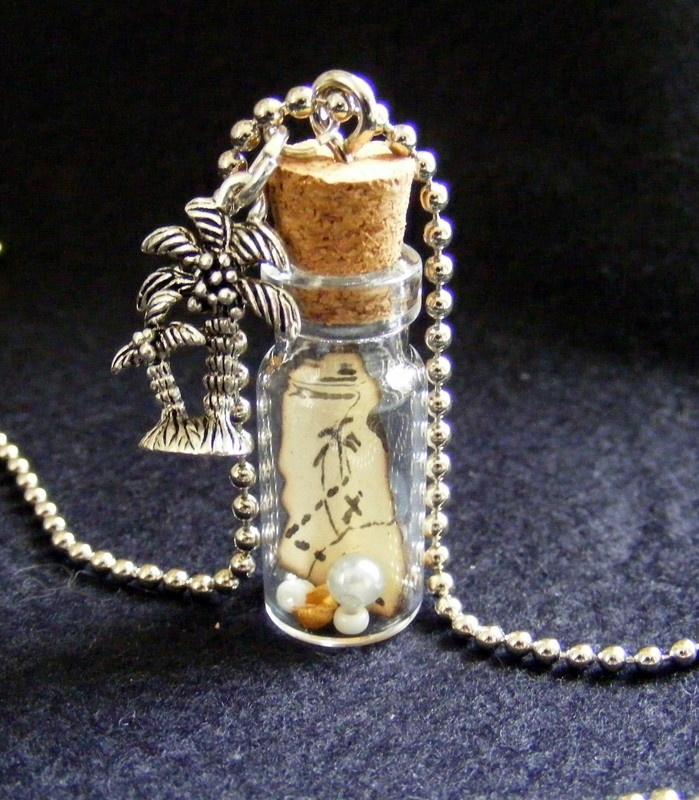 Treasure Island  Glass bottle pendant