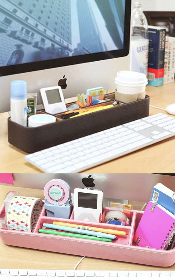 I cannot believe how much space I have on my desk after organizing everything inside the Leather Desk Organizer Tray v1! This cute and great looking tray has useful compartments to help me neatly organize all my office supplies!