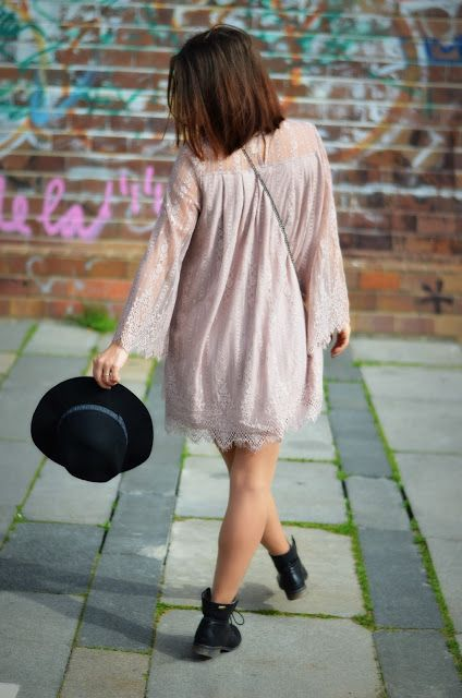 Lace dress with motorbike boots