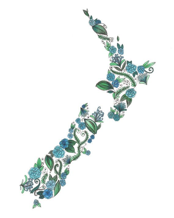 New Zealand Patterned Blue Green Art Print by ArtbyTheLittleLeaf, $20.00