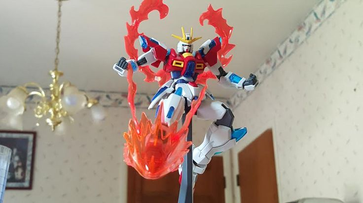 Sam DeGrandchamp (USA) This is my Build Burning Gundam in an action pose. I tried to go for a angle to make it look like it was kicking towards you from above.