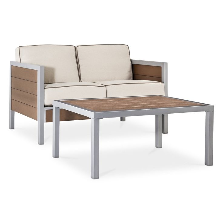 $500 Threshold Bryant 2 Piece Faux Wood Patio Loveseat Coffee Table Set