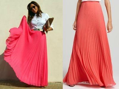 Юбка плиссированная модные цвета коралловая с чем носить
