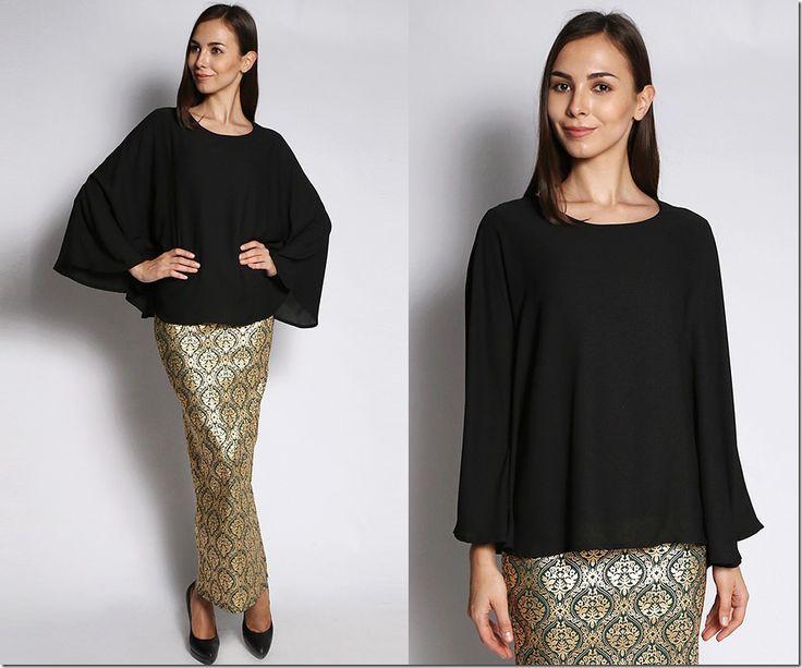 Keep Your Tummy Happy Wear Chiffon Kaftan Blouses For Raya 2015: black-flowy-kaftan-blouse