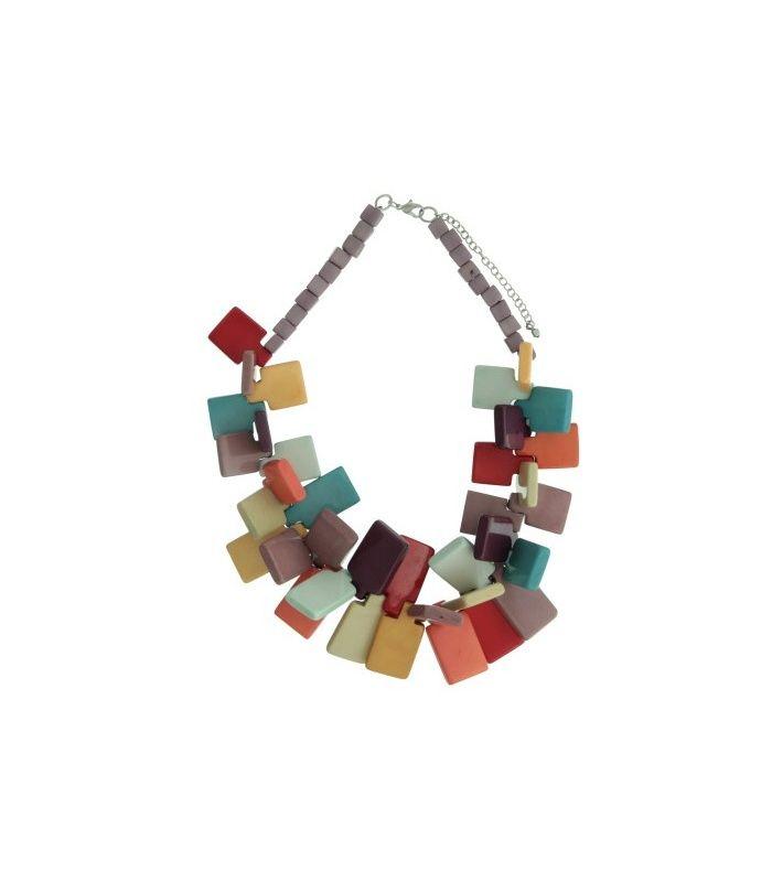 Gekleurde halsketting met grote elementen Lengte van de halsketting is 58 cm