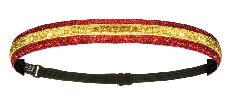 """1"""" Red and Gold Double Sparkle Non-Slip Adjustable Headband"""