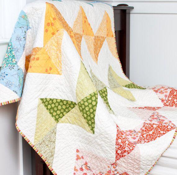 Chevron Handmade Patchwork Quilt  44 x 44 by JAQSstudio on Etsy, $150.00