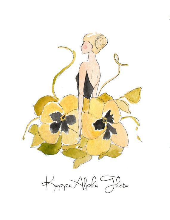 Kappa Alpha Theta Sorority Pansy Fashion Stationary by LizLaneArt