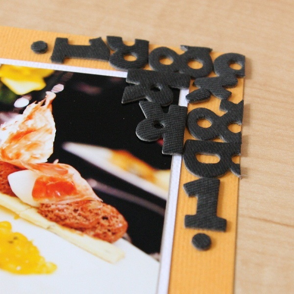 create embellished corner designs with extra letter stickers. (from kelly purkey's fun with type class.)