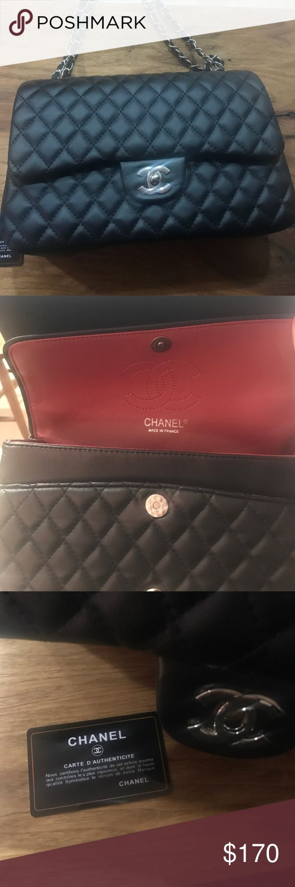 Chanel double flap bag New Chanel black double flap bag.  Not auth (price reflects).  Includes authenticity card chanel Bags