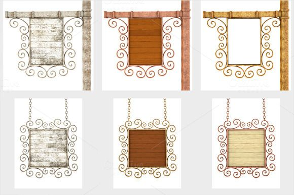 Set of Old wooden signboard by frescomovie on Creative Market