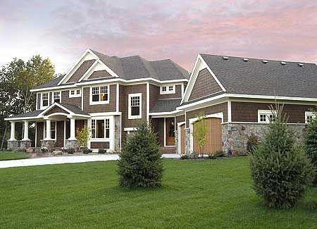 Love craftsman style homes!Dreams Home, Floors Plans, Craftsman Home Plans, Garages, Houseplans, White Trim, Dreams House, Exterior Colors, House Plans
