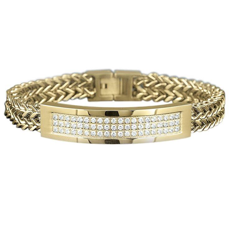 mens gold bracelets with diamonds - Google Search