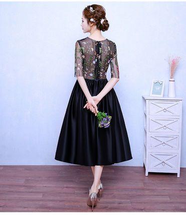 ワンピース エレガント♪  フラワー 刺繍 シースルー ドレス ワンピース(5)