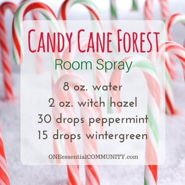The 25+ BEST Christmas Holiday room spray recipes {made with essential oils}... Holiday Treats, Candy Cane Forest, Peace on Earth, Christmas Cheer, and more