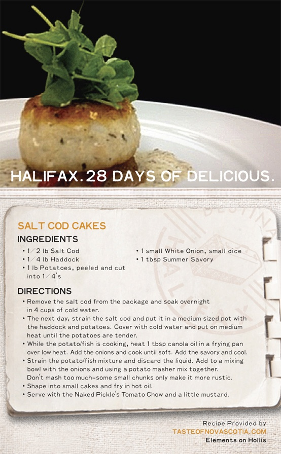 Fish cakes are a favourite meal on Canada's East Coast. This #recipe, from #Halifax's Elements on Hollis restaurant, includes salt cod, haddock, potatoes, onion, and summer savory. Serve with tomato chow. #28daysofdelicious