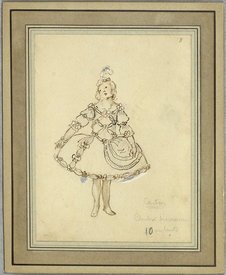 """Costume design (1918), by Jacques Drésa (1869-1929), for blessed spirits, in Act 4 of """"Castor et Pollux"""" (1737), by Jean-Philippe Rameau (1683-1764)."""