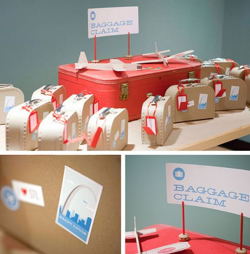 This feature possibly tops the ADORABLE invitations. The suitcase favor boxes filled with treats. What a great touch!