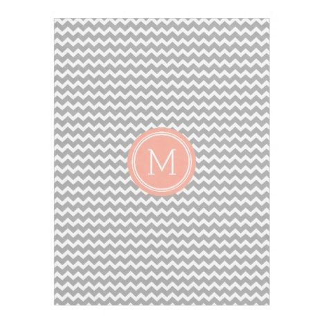 Grey Coral Chevron Pattern Monogram Blanket #monogram #fleece #blanket #homedecor #gifts