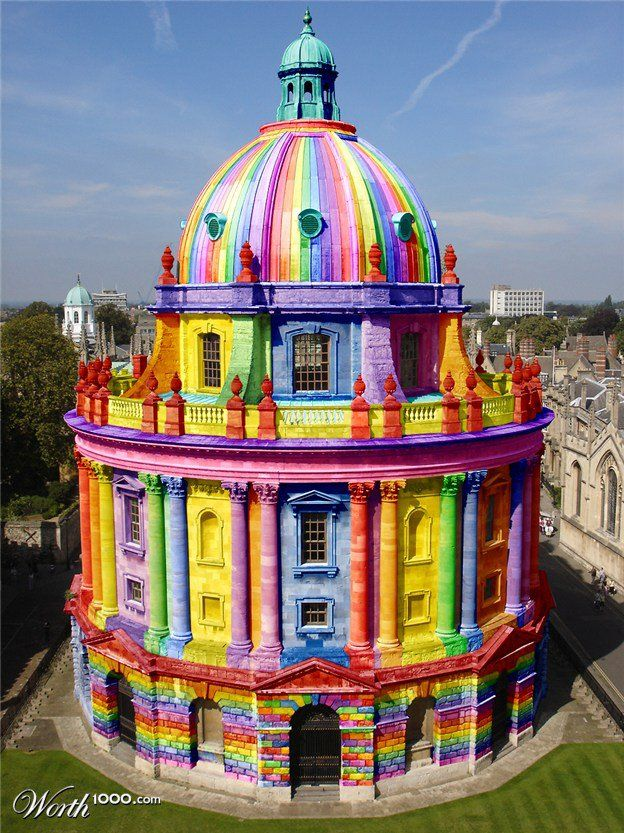 colorful building - A digital altering of the Bodleian Library, Oxford, England. wonder if Oxford City Council would do this for charity.