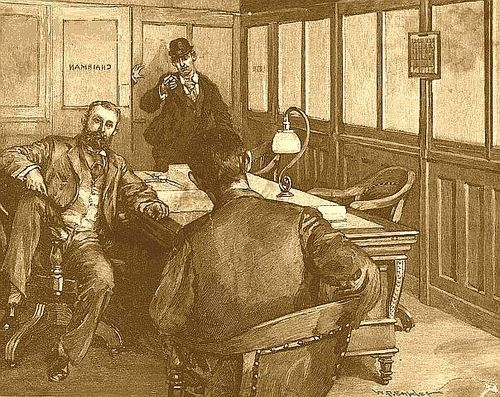 A drawing fromHarper's Weeklyof Alexander Berkman attempting to assassinate Henry Clay Frick, 1892.  On This Day in Pittsburgh History: July 23, 1892