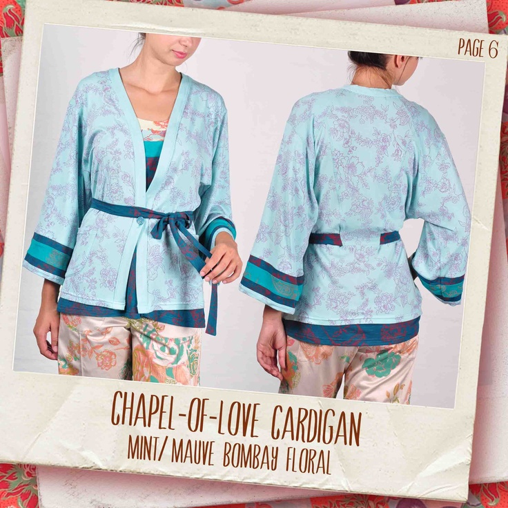 Chapel-of-Love cardigan in Mint/ mauve Bombay Floral