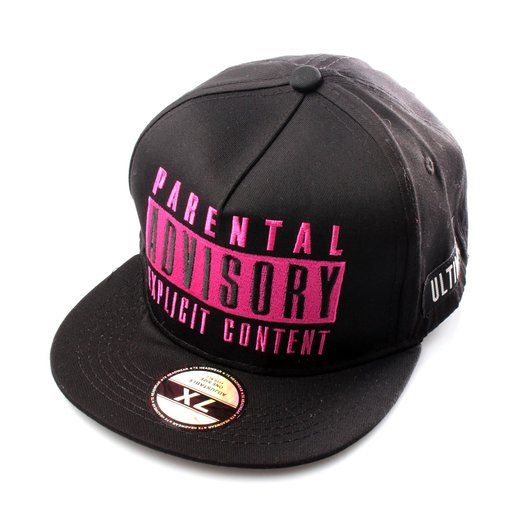 Pink Parental Advisory Explicit Content Black Snapback Cap