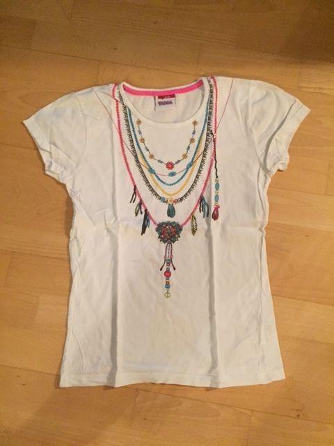 weißes T-Shirt mit Aufdruck und Pailetten von Yigga Gr. 158 - 164   eBay