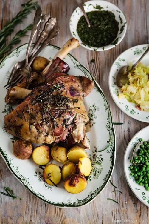 Roasted Lamb Shoulder With Gravy And Mint Sauce Recipe | Foodienarium
