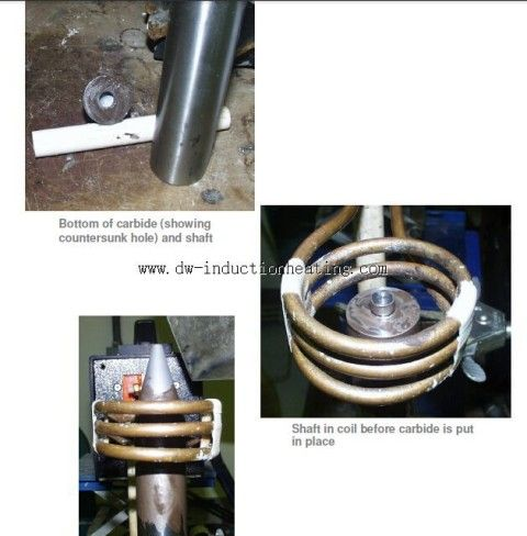Induction Brazing Shaft and Carbide with High Frequency Induction Brazing Heater,RF induction Soldering Carbide to Shaft