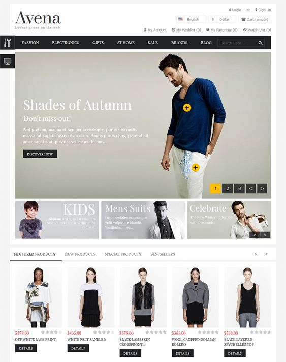 This minimal PrestaShop theme has email templates, a responsive layout, 3 homepage sliders, custom backgrounds, over 500 Google Fonts, easy customisation, easy logo creation, a contact page, eBay integration, a blog extension, and more.