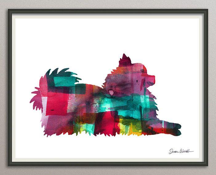 Pomeranian2 - Zwergspitz Hund 20x25 Kunstdruck Aquarell Poster Art Print