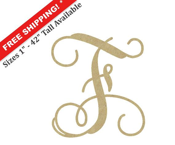wooden monogram letter f large or small unfinished cursive wooden letter perfect for crafts diy weddings sizes 1 to 42