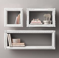 Find frames from a thrift store, attach wood to all sides, paint and hang on wall. New and creative shelves