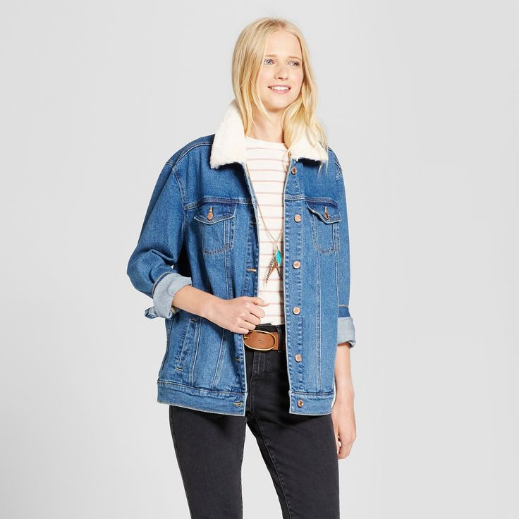 Women's Oversized Denim Jacket with Fur Collar - Mossimo Supply Co. Medium Wash S, Blue